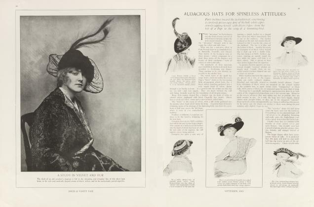 Article Preview: AUDACIOUS HATS FOR SPINELESS ATTITUDES, September 1913 | Vanity Fair