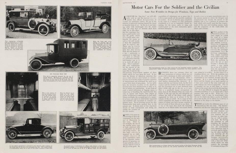Motor Cars For the Soldier and the Civilian