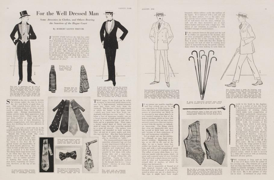 For the Well Dressed Man | Vanity Fair | August 1918