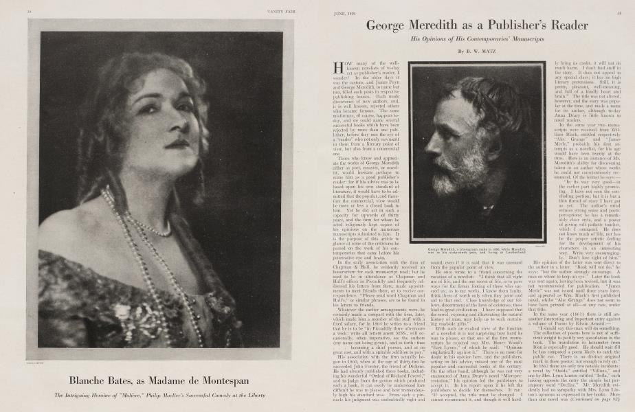 George Meredith as a Publisher's Reader