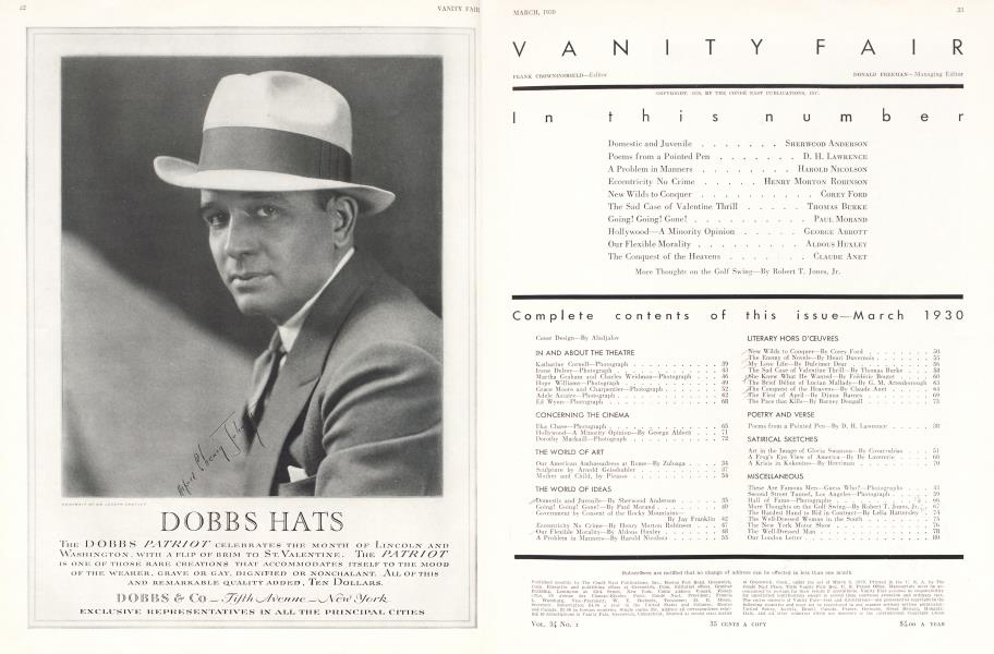 Complete contents of this issue—March 1930