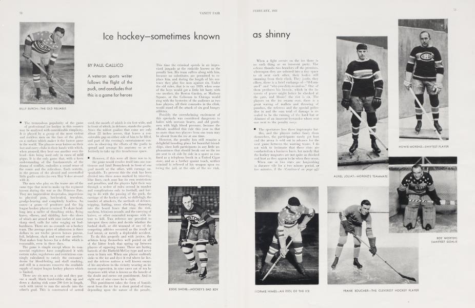 Ice hockey—sometimes known as shinny
