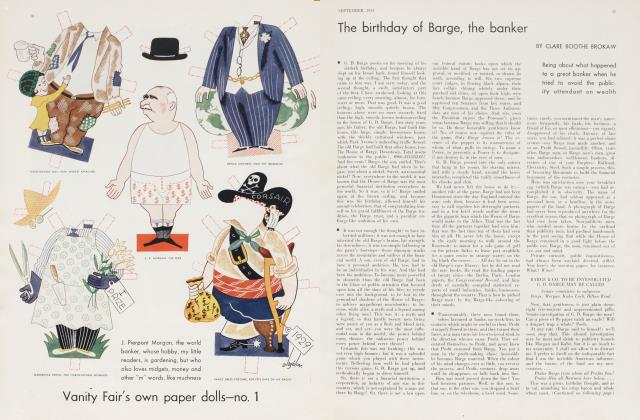 Article Preview: The birthday of Barge, the banker, September 1933 | Vanity Fair