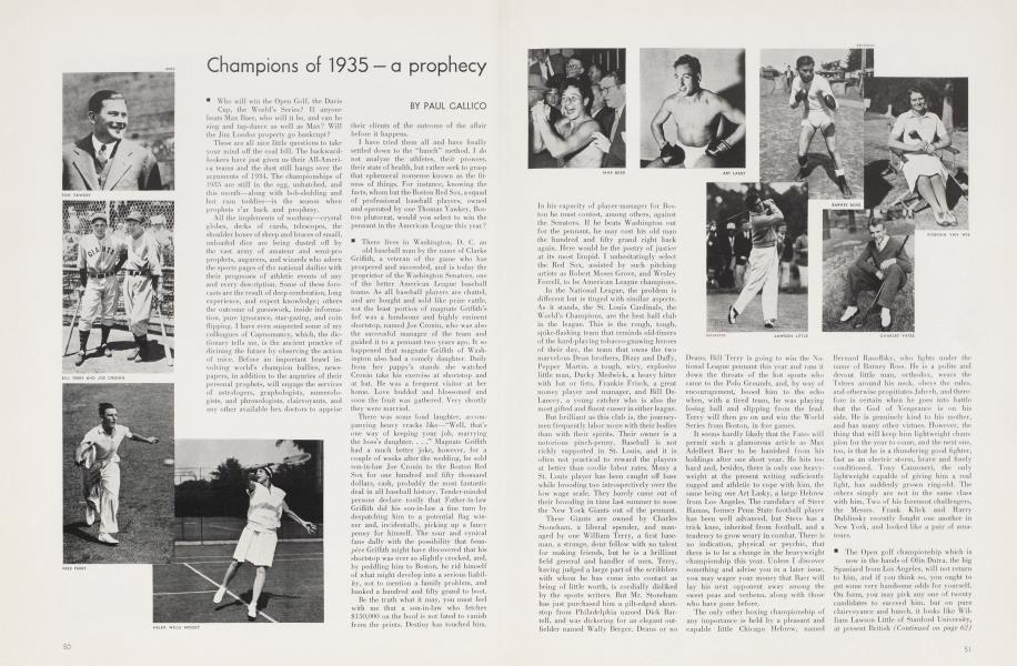 Champions of 1935 — a prophecy