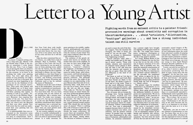 Article Preview: Letter to a Young Artist, July 1983 | Vanity Fair