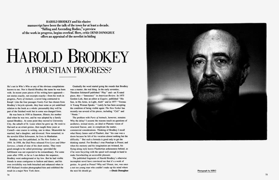 HAROLD BRODKEY A PROUSTIAN PROGRESS?