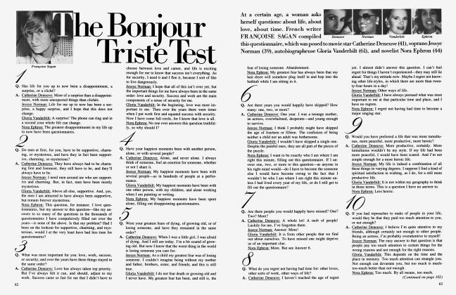 Article Preview: The Bonjour Triste Test, August 1985 | Vanity Fair