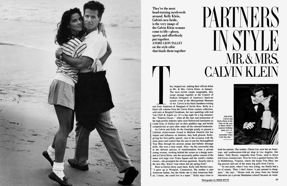 PARTNERS IN STYLE: MR. & MRS. CALVIN KLEIN