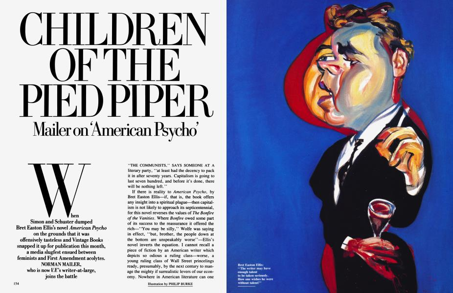 CHILDREN OF THE PIED PIPER Mailer on 'American Psycho'