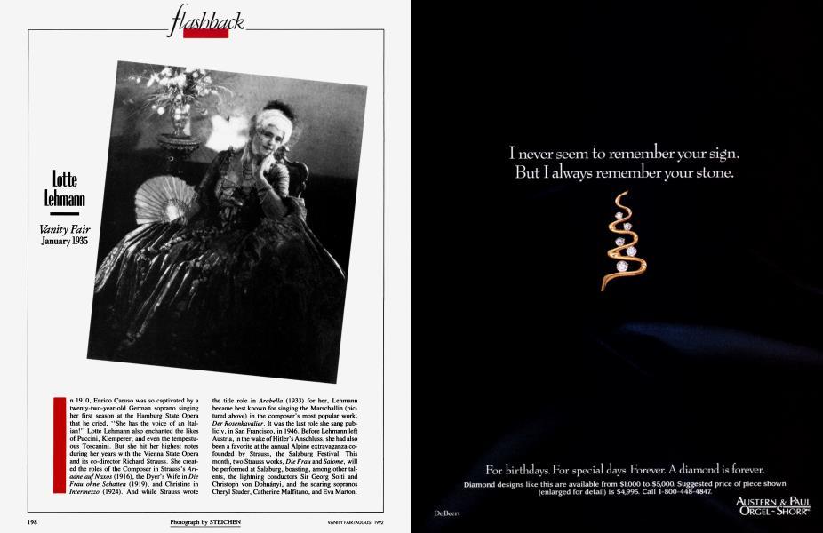 Lotte Lehmann | Vanity Fair | August 1992