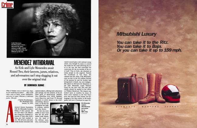 Article Preview: MENENDEZ WITHDRAWAL, April 1994 1994 | Vanity Fair