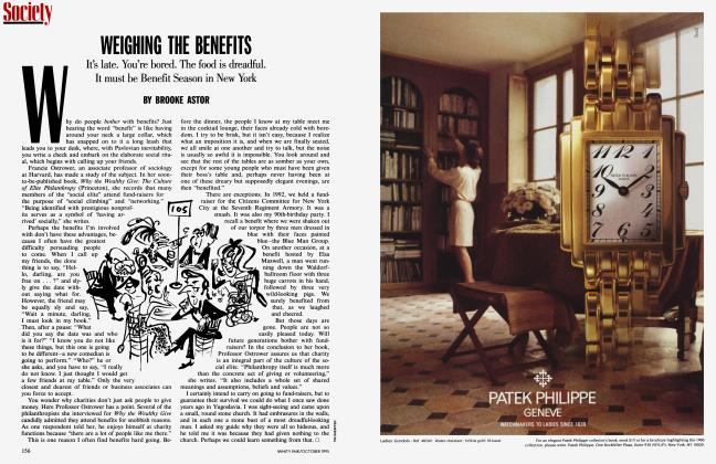 Article Preview: WEIGHING THE BENEFITS, October 1995 1995 | Vanity Fair