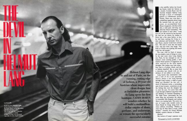 Article Preview: THE DEVIL IN HELMUT LANG, November 1995 1995   Vanity Fair