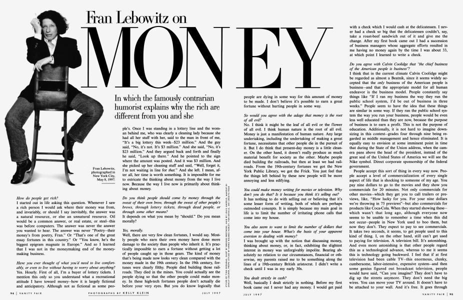 Fran Lebowitz on MONEY