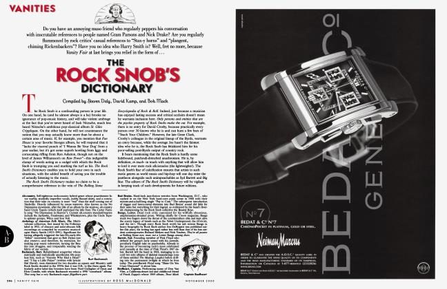 Article Preview: THE ROCK SNOB'S DICTIONARY, November 2000 2000 | Vanity Fair