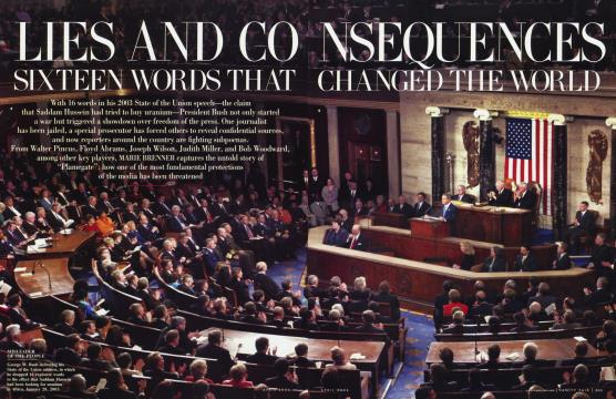LIES AND CONSEQUENCES SIXTEEN WORDS THAT CHANGED THE WORLD - April | Vanity Fair